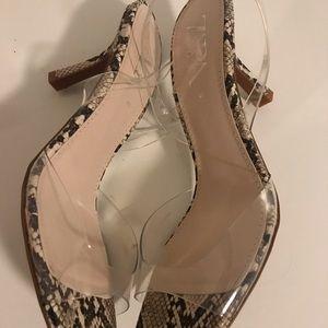 Zara Shoes - Zara Clear Strap Snake Print Heel Sandals